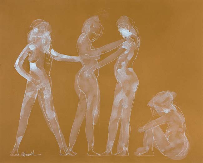 Women Dancing - acrylic and pencil on paper